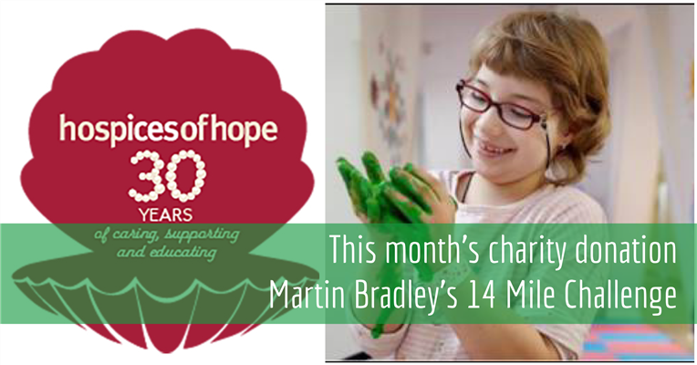 Martins 14mile challenge for Hospices of Hope